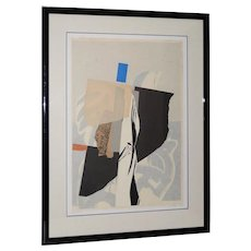 Vintage Late 20th Century Mixed Media Abstract On Paper by H. Munson c.1986