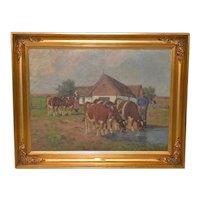 Axel Hansen (Dutch, 1896-1936) Country Farm Landscape w/ Cattle c.1920s