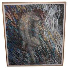 Richard Overstreet (American, 20th c.) Reclining Figure Pastel Painting c.1980