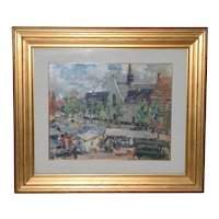 Cipriano Mannucci (1882-1970) Village Landscape Oil Painting c.1927