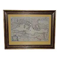 """La Mer Mediterranee"" Antique Map of the Mediterranean Sea c.1692"