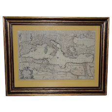 """La Mer Mediterranee"" Antique Map of the Mediterranean Sea c.1692"