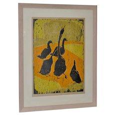 "Esther Shapiro (American, 20th c.) ""Goose Step"" Original Woodblock c.1958"