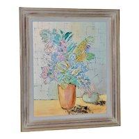 "Marguerite Daniel ""Floral Still Life"" Original Oil Painting c.1960s"