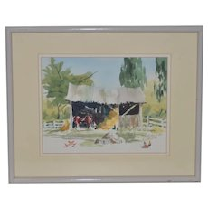 "Jake Lee (1915-1991) Original Watercolor ""Tractor in the Barn"" c.1990"