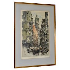 "Luigi Kasimir ""Innsbruck, Seilergasse"" Original Signed Color Etching c.1922"