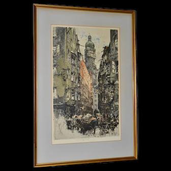 "Luigi Kasimir ""Innsbruck, Seilergasse"" Original Signed Color Etching c.1922"