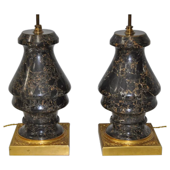 Pair of Mid 20th Century Black Marble Lamps on Gilded Base