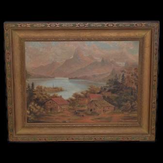 Wonderful 19th Century Mountain Landscape w/ Houses &  Figures