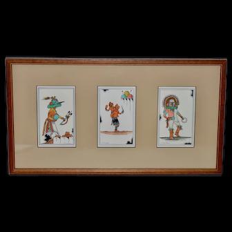 Three Vintage Watercolor Paintings of Hopi Ceremonial Dancers by Edgar Sumatzkuku
