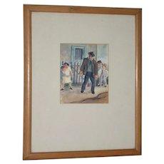 "Otis Oldfield (American, 1890-1969) ""Josie's Place"" Original Watercolor c.1930s"