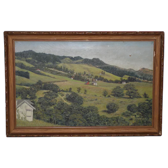 19th Century California Landscape w/ Rolling Hills and Farms c.1890s