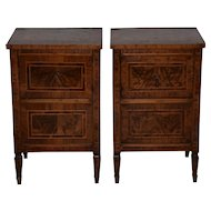 Pair of Magnificent Late 18th to Early 19th Century Walnut Side Tables w/ Cabinets