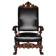 19th Century Jacobean Walnut Hand Carved Arm Chair w/ Leather Upholstery