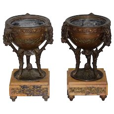 Pair of 19th Century French Bronze & Marble Compotes