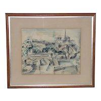 Riva Helfond (American, 20thc.) Notre-Dame de Paris Cathedral in Abstract Watercolor c.1954