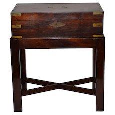 Fine 19th Century Walnut Box on Stand w/ Brass Hardware