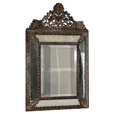 19th Century French Pressed Copper Framed Mirror