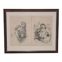 "Thomas Nast ""Hello Santa"" Illustration for Harper's Weekly c.1884"