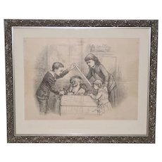 "Thomas Nast ""A Christmas Box"" Harper's Weekly Illustration c.1880s"