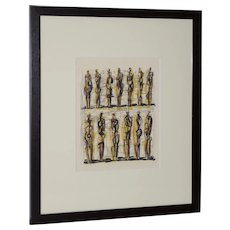 "Henry Moore ""Thirteen Standing Figures"" Original Lithograph c.1958"