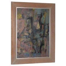 Ken Reid Mid Century Modern Figural Abstract Oil Painting c.1957