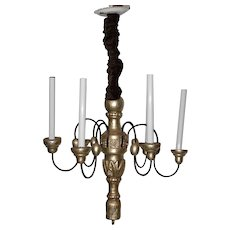 Vintage Carved Wood & Gilded Six Light Chandelier