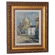 "Raymond Besse (French, 1899-1969) ""Sacré-Cœur, Paris"" Original Oil Painting c.1950s"