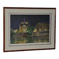 Vintage Notre-Dame de Paris Color Lithograph Signed / Numbered c.2004