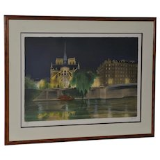 Vintage Notre-Dame de Paris Color Lithograph Signed / Numbered c.2004