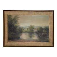 Framed English Country Landscape w/ Thatched Roof Cottage c.1930s