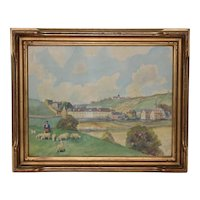 19th Century English Landscape w/ Rolling Hills and a Shepherd