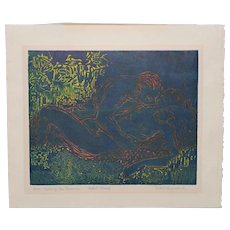 """Jean Townsend (Canadian, 20th c.) """"Here, Among the Leaves"""" Etching w/ Aquatint A/P c.1950"""