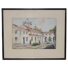 Vintage Watercolor of a Mission Courtyard c.1940s