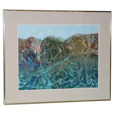 Mid Century Abstract Mountain Landscape w/ River Original Mixed Media
