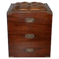 19th Century Mahogany Campaign Storage Chest w/ Tufted Leather Seat