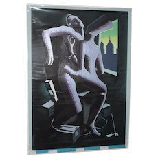 "Mark Kostabi (American, b. 1960) ""Close Call"" Original Serigraph c.1986"