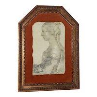 Framed Print of Leoanardo da Vinci's Seated Woman (Possibly La Bella Principessa) c.1940s