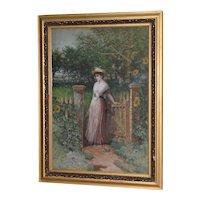 Early 20th C. Watercolor Portrait of an Elegant Young Woman at Gardens Gate c.1910
