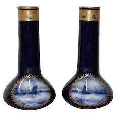 Pair of Gorgeous Cobalt Blue & Gilded A.P. & F. Limoges, France Vases