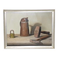 """John T. Axton III (1922-2009) """"Tools of the Trade"""" Realism Still Life Oil Painting"""