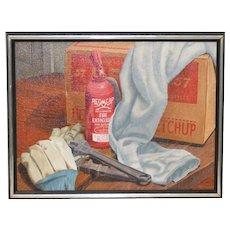 "John T. Axton III (1922-2009) ""Work Bench"" Original Realism Still Life Oil Painting"