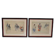 Pair of 19th Century Japanese Sporting Scenes Woodblock Prints
