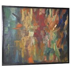 Large Mid Century Abstract Oil Painting by Hall