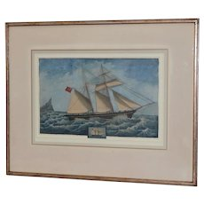 """19th Century Chinese Export """"Clipper Ship w/ Union Jack"""" Watercolor Painting"""