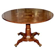Large 20th Century Burl Walnut Marquetry Inlay Entry / Dining Table