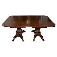 William IV Style Mahogany Extending Dining Table w/ Lions Paw Feet 19th C.