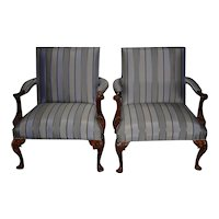 Pair of Matching Ralph Lauren Carved Mahogany & Upholstered Arm Chairs
