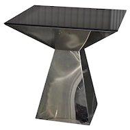 Geometric Chrome & Smokey Glass Top Side Table c.1970s
