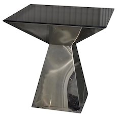 Geometric Chrome & Smokey Glass Top Side Table c.1970s